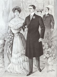 Formal black frock coat with silk-faced lapels, light grey waistcoat, Cashmere striped trousers, button boots, gloves, Ascot-knotted cravat, and cravat pin; April 1904. Credit: Men's Fashion Illustration form the Turn of the Century. Reprint by Dover Publications, 1990.